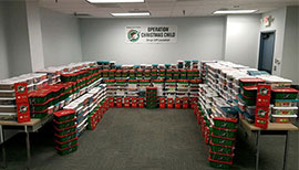 FleetNet America's Operation Christmas Child shoeboxes